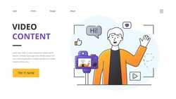 Social Media Influencer or vlogger recording video content on a professional video camera or mobile phone in a website landing page template with copyspace, colored minimal style vector illustration