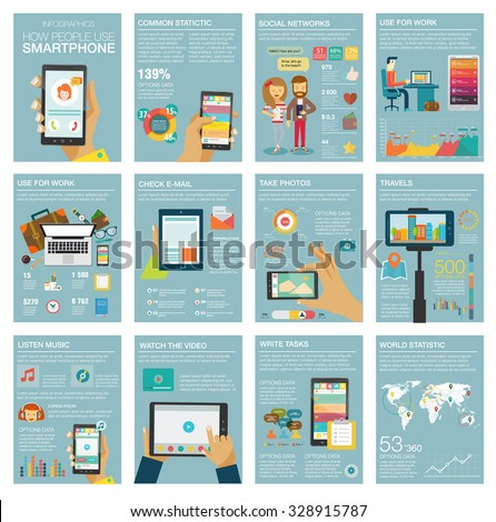 Social Media Infographic set with charts, icons, map, diagrams, other elements. People use smartphone, social networks, camera, looking news, video and picture. Vector illustration, flat modern style. #328915787