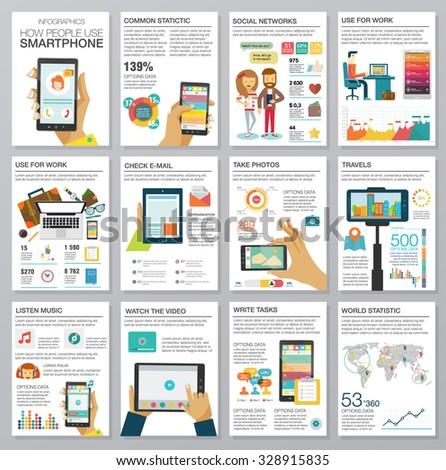 social media infographic set