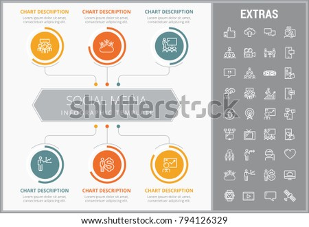 Social media infographic template, elements and icons. Infograph includes customizable graphs, charts, line icon set with social media, global network, electronic mail, internet technology etc.