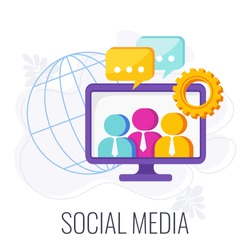 Social Media Infographics Pictogram. Global community of people with similar interests. Interactive computer-mediated technologies for sharing of information. Flat vector illustration.