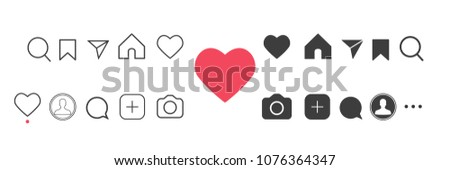 Social media Instagram interface buttons, icons: home, camera, comment, search, camera, heart, like, user story. Vector illustration. EPS 10