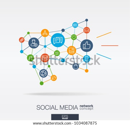 Social Media integrated thin line web icons in megaphone message shape. Digital neural network interact concept. Connected graphic design polygons and circles system. Background for market service Stock photo ©