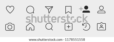 Social media interface buttons, icons:  comment, dm, saved, profile, camera, home, search, new post, story, tag post. vector illustration. Stock photo ©