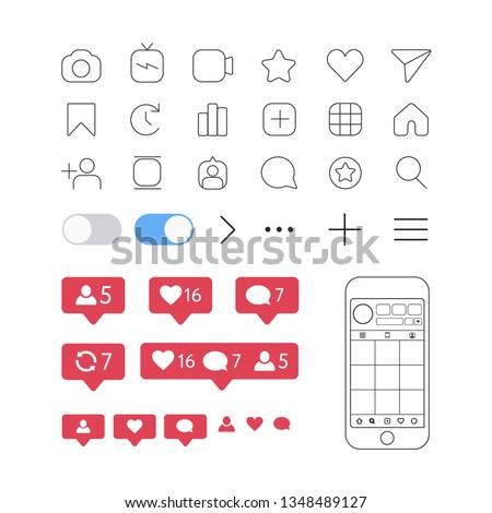 social media interface set