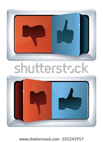 social media internet concept - vector trigger with like and dislike sign