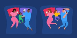 social media internet gadget  addiction family lying in bed at night with  smartphones vector illustration
