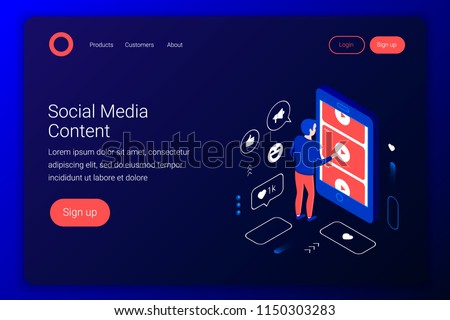 Social media isometric concept. Man watches videos from YouTube through a smartphone screen. Flat 3d style. Landing page template. Vector illustration.