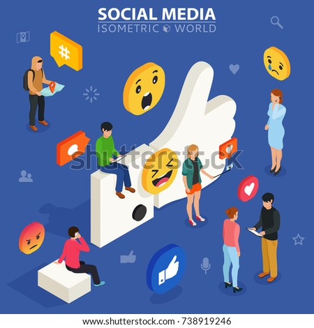 Social media isometric concept. Young people communicate with each other. Social networking and blogging. Flat design of guys and women near big symbol.