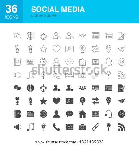 Social Media Line Web Glyph Icons. Vector Illustration of Technology Outline and Solid Symbols.