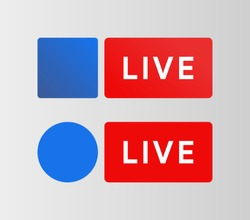 Social media Live button. Facebook style badge. Streaming blue icon. Bradcarting sign. Vector illustration