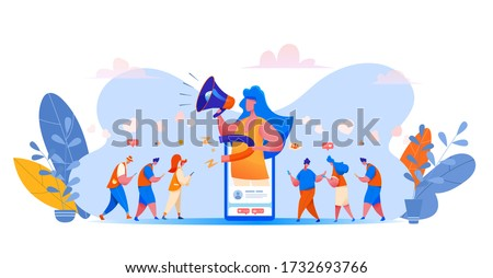 Social media management concept with girl holding megaphone and magnet attracting visitors with likes, emoji to blog social page. Blogging management customer acquisition. Vector users with smartphone Photo stock ©