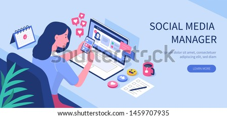 Social media manager or influencer at work.  Flat  vector illustration isolated on white background.