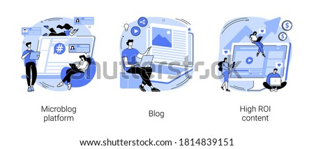 Social media marketing abstract concept vector illustration set. Microblog platform, blog and high ROI content, influencer, brand promotion, followers and subscriptions, viral content abstract