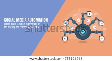 Social media, marketing automation, digital marketing, SMO flat vector banner with icons