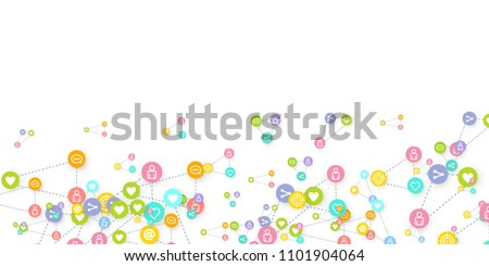Social media marketing, Communication networking concept. Random icons social media services tags linked on white background. Comment, friend, like, share, target, message. Vector Internet concept. #1101904064