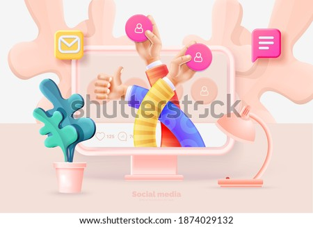 Social media marketing. Computer and smartphone with social media user interface. Communication between people using social networks. Vector illustration with computer, phone, icons, 3d style.