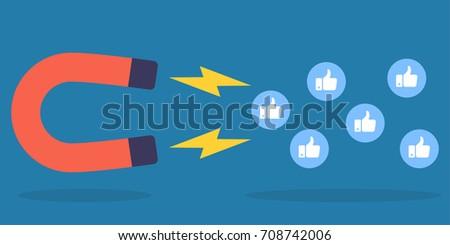 Social media marketing concept. Magnet attracting likes. Vector illustration in flat design style