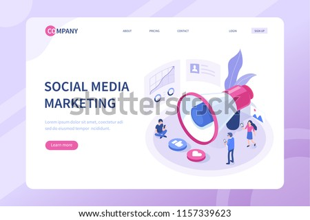 Social media marketing concept with characters. Can use for web banner, infographics, hero images. Flat isometric vector illustration isolated on white background.