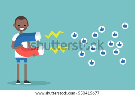 Social media marketing concept. Young black man attracting likes with a huge magnet / editable flat vector illustration #550415677