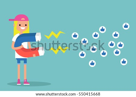 Social media marketing concept. Young blonde girl attracting likes with a huge magnet / editable flat vector illustration #550415668