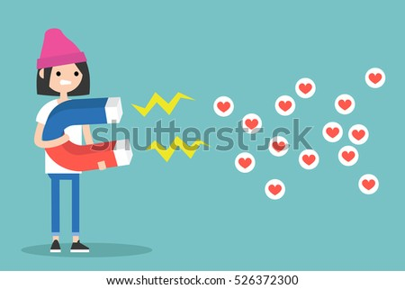 Social media marketing concept. Young brunette girl attracting likes with a huge magnet / editable flat vector illustration #526372300