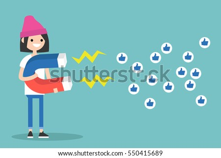 Social media marketing concept. Young brunette girl attracting likes with a huge magnet / editable flat vector illustration