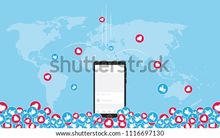 social media marketing content viral around the world vector illustration