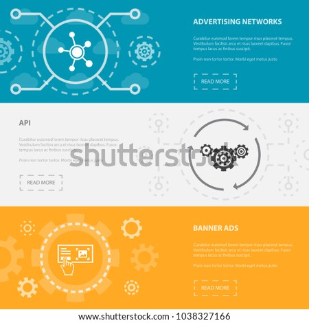 Social Media Marketing 3 horizontal webpage banners template with Advertising Networks, API, Banner Ads concept. Flat modern isolated icons illustration.