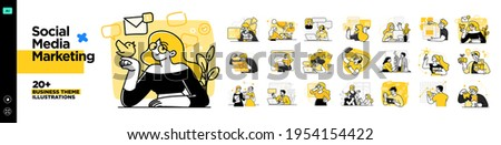 Social Media Marketing illustrations. Mega set. Collection of scenes with men and women taking part in business activities. Trendy vector style