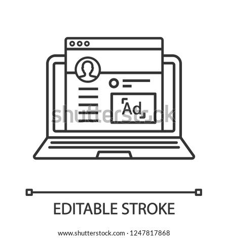 Social media marketing linear icon. Thin line illustration. Social network advertising. SMM. Influencer marketing. Content advertising. Contour symbol. Vector isolated outline drawing. Editable stroke