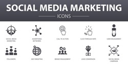 Social Media Marketing simple concept icons set. Contains such icons as User Engagement, Followers, Call To Action, Lead conversion and more, can be used for web, logo, UI/UX