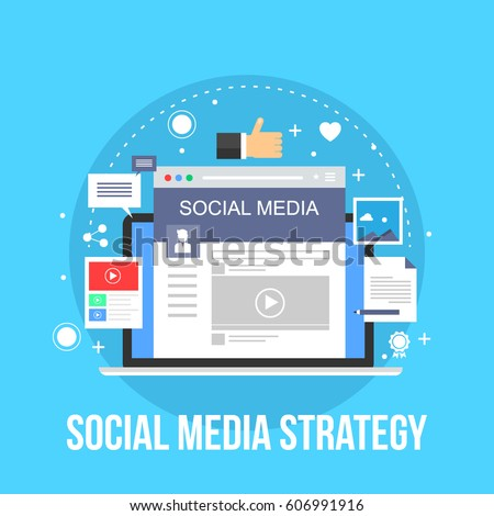 Social media, marketing strategy, digital vector concept with icons and symbols
