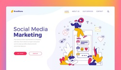 Social media marketing. Website banner template. Vector illustration of woman with loudspeaker sitting on smartphone and encouraging people to browse data in social media during advertisement campaign
