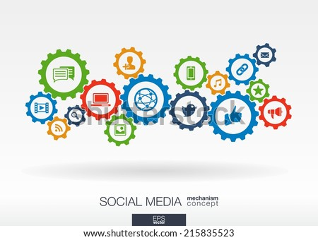 Social media mechanism concept. Abstract background with integrated gears and icons for digital, internet, network, connect, communicate, technology, global concepts. Vector infographic illustration.