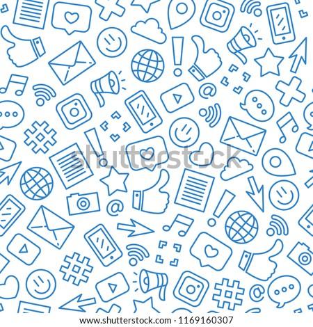Social media minimalist seamless pattern. Internet messenger background. Vector illustration