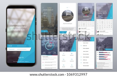 Social Media Mockups & Templates. Set of GUI screens with login and password input, home page, news feed, rating and statistics