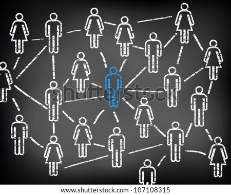 Social media network and connections on black chalkboard. Men and women. Focus on man. Vector illustration version. - stock vector