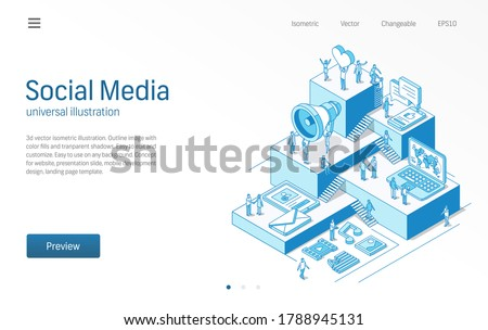 Social Media Network. Business people teamwork. News, trend, content, communication modern isometric line illustration. Digital market, like, share icon. 3d vector. Growth step infographic concept