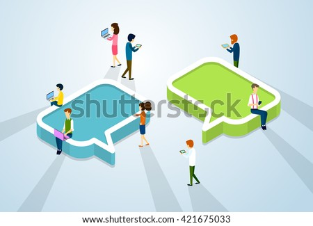 Social Media Network Communication People Crowd With Digital Device Tablet Phone Laptop Computer Chat Bubble 3d Isometric Vector Illustration