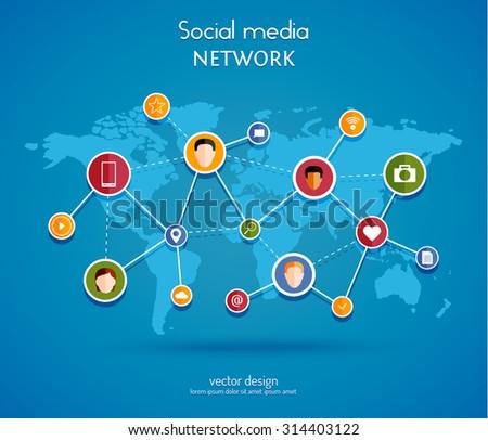 Social media network concept. Vector illustration