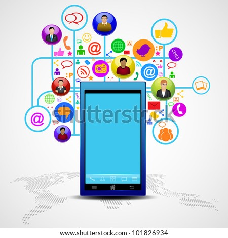 Social media network connection and communication in the global, mobile networks with networking icons. Vector illustration. EPS