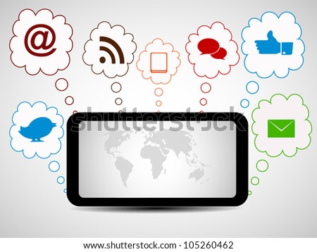 Social media network connection and communication in the global, tablet networks with networking icons. Vector illustration. EPS
