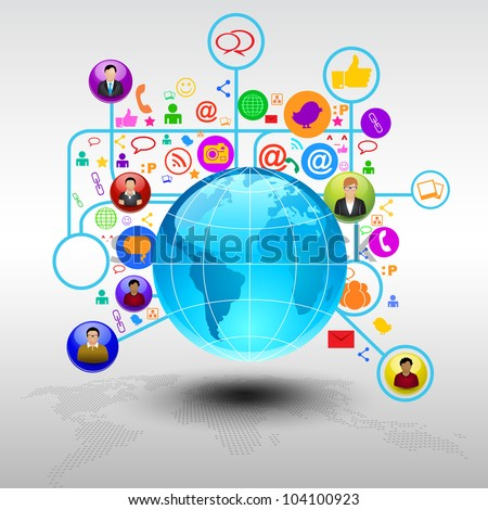 Social media network connection and communication in the global with networking icons. Vector illustration. EPS 10.