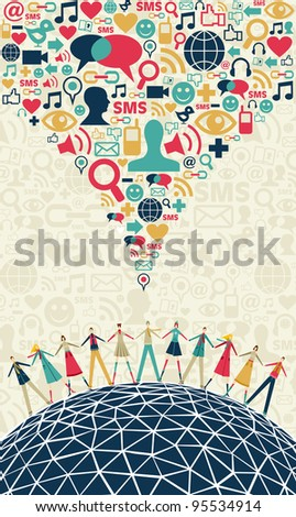 Social media network connection concept, with colors social icons texture, on light background. Vector file available