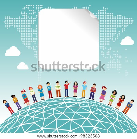 Social media network connection concept with empty label and World map background. Vector file layered for easy manipulation and customizations.