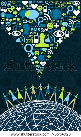 Social media network connection concept, with social icons texture background. Vector file available
