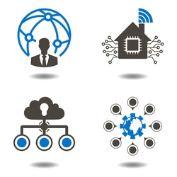 Social media network icons set, people network icon. Data analytic sign. Information technology communication internet of things symbol. Business iot connection networking illustration. Smart home.
