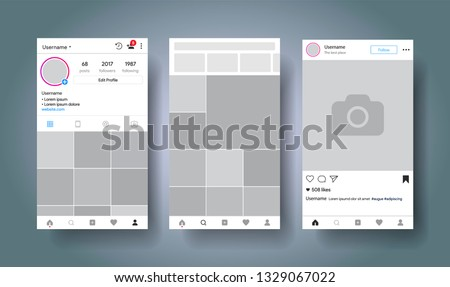 Social media network inspired by instagram. Mobile app with photos tile template. User profile, followers, recommendation and post. Story. Vector illustration.