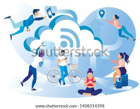 Social Media Network Lifestyle Metaphor Flat Banner Vector Illustration Levitating Sitting People Using Devices Music Sport Mail GPS Mobile Application in Daily Life Wireless Internet Connection